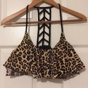 VS Pink Lattice Back Ruffle Bikini Top Large